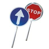 Balizamiento manual, paletas, bastón luminoso y banderas de señalización 3210 Paleta señalización Pase-Stop Aluminio