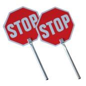 Balizamiento manual, paletas, bastón luminoso y banderas de señalización 4950SS Paleta señalización Stop-Stop PVC con mango de aluminio