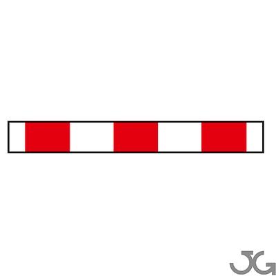 Panel de zona excluida al trafico, fabricada en chapa galvanizada de 1400x250x25mm con lacada en blanco con vinilo rojo Reflex N1