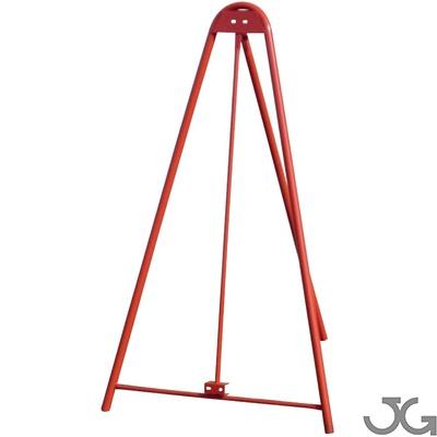 Trípode lacado en rojo de 90x150cm con estructura tubular de Ø30mm. Soporte para cualquier señal de tráfico
