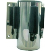 Postes separadores con cinta extensible retráctil 10975Ex Soporte a pared estándar acero cromado con cinta extensible negra de 2m