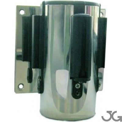 Soporte a pared estándar cromado con cinta extensible negra de 2m.
