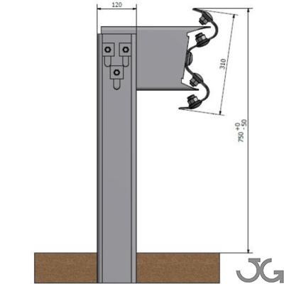 Barrera bionda  metálica de contención normal diseñada para su instalación en los márgenes de las carreteras. Compuesta por una bionda, poste CPN 120x55x4mm de 1,5m de altura cada 4m con separador estándar, tornillería y captafaro cada 8m.
