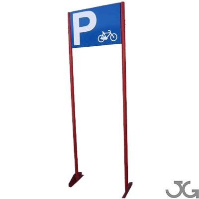 Indicador de parking de bicicletas fabricado en perfil circular de Ø40mm,  lacado en rojo con indicación de parking realizada en bandeja de 60x40 lacada al horno en azul.