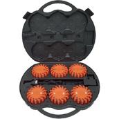 Balizamiento manual, paletas, bastón luminoso y banderas de señalización 7660 Maleta de 6 balizas de señalización LED color naranja