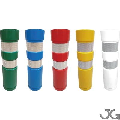 Baliza cilindrica H-75 Estándar de polietileno (plástico) de alta calidad, con Anti-UV. Hito cilíndrico H-75 de señalización y delimitación en carretera. Colores: verde, azul, rojo, amarillo y blanco. Balizas hitos señalización de tráfico para delimitació