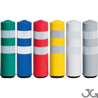 Baliza cilíndrica H75 Flexible. Hito cilíndrico de delimitación y señalización en carretera. Fabricada en Polietileno (plástico) de baja densidad. Flexible y resistente al desgarro. Dimensiones: Ø19x73cm. Incluye tornillería. Colores: Blanco, amarillo, ve
