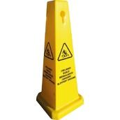 Postes y cadenas de plástico, precaución suelo mojado 106C Cono 4 caras Precaución Suelo Mojado