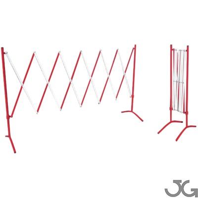 Valla de seguridad metálica roja/blanca extensible plegable. Valla de acero lacada al horno en rojo y blanco.