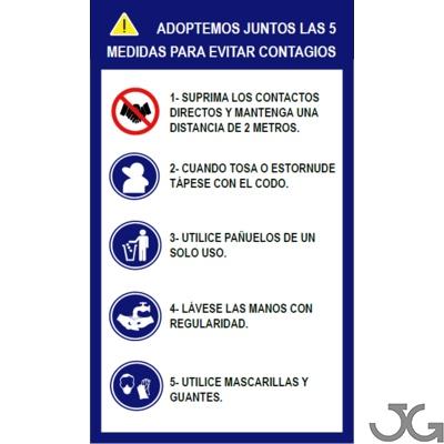 Cartel señales de normas de seguridad de 5  medidas para evitar contagios