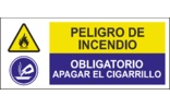 Peligro de incendio Obligatorio apagar el cigarrillo SC01
