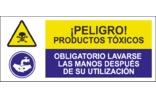 Peligro productos tóxicos Obligatorio lavarse las manos después de su utilización SC05