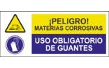 Peligro materias corrosivas Uso obligatorio de guantes SC07