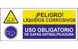 Peligro líquidos corrosivos Uso obligatorio de gafas anti salpicaduras SC08