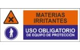 Materias irritantes Uso obligatorios de equipo de protección SC10