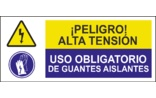 Peligro alta tensión Uso obligatorio de guantes aislantes SC11