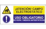 Atención campo electrostático Uso obligatorio de ropa y medios antiestáticos SC13