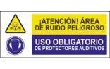 Atención área de ruido peligrosa Uso obligatorio de protectores auditivos SC14