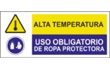 Alta temperatura Uso obligatorio de ropa protectora SC19