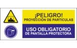 Proyección de partículas Uso obligatorio de pantalla protectora SC23