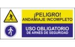 Peligro andamiaje incompleto Uso obligatorio de arnés de seguridad SC26