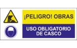 Peligro obras Uso obligatorio de casco SC28