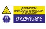 Atención Radiaciones ultravioleta en soldadura Uso obligatorio de gafas o pantalla SC30