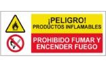 Peligro Productos inflamables Prohibido fumar o encender fuego SC32