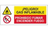 Peligro Gas inflamable Prohibido fumar o encender fuego SC33