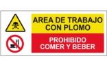 Área de trabajo con plomo Prohibido comer y beber SC39