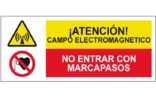 Atención campo electromagnético No entrar con marcapasos SC44