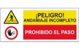 Peligro andamiaje incompleto Prohibido el paso SC52