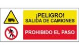Peligro salida de camiones Prohibido el paso SC55