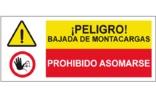 Peligro bajada de montacargas Prohibido asomarse SC59