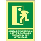 Señales de evacuación, salvamento y socorro  Señales verticales en 4 idiomas