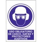 SO828 Uso obligatorio de casco, gafas y protectores auditivos