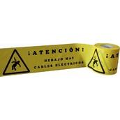 Cintas para marcaje de conductos subterráneos 111 Cinta señalización ATENCIÓN DEBAJO HAY CABLES ELÉCTRICOS. Cinta 15cm x 200m. Galga 300
