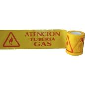 Cintas para marcaje de conductos subterráneos 114 Cinta 15cm x 200m Señalización ATENCIÓN TUBERÍA DE GAS subterránea. Galga 300