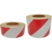Cintas adhesivas Reflectantes Réflex N1  Cinta Adhesiva Reflectante Roja/Blanca franjas a 45º