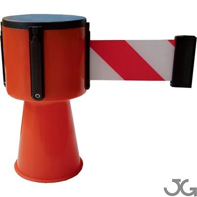 Tensacone con cinta roja y blanca extensiva retráctil para conos. Medidas: 5 cm x 5 m. Sistemas de barrera de cinta retráctil. Diseñado para adaptarse a conos de tráfico estándar