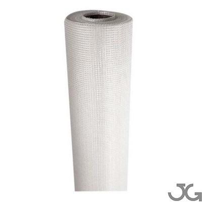 Malla blanca de fibra de vidrio para yeso. Rollo de 50m. 100% fibra de vidrio. Malla para ser introducidas entre capas de yeso, escayola, cemento o mortero.
