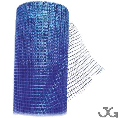 Malla de revoco azul, rollo 1x50m. 100% fibra de vidrio. Malla para ser introducida entre capas de yeso, escayola, cemento o mortero. Malla de fibra de vidrio para evitar grietas en el mortero
