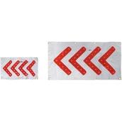 SEÑALES DE LONA CON LEDS, ojales e imanes  Señal direccional de lona Blanca con LEDs Rojos