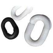 Postes y cadenas de plástico, precaución suelo mojado  Eslabones de unión para las cadenas plásticas