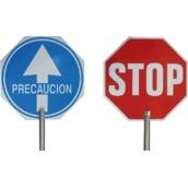 Balizamiento manual, paletas, bastón luminoso y banderas de señalización 4950 Paleta señalización Pase-Stop PVC con mango de aluminio