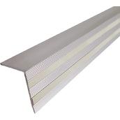 """Perfiles y señalización de escaleras PL-09 Perfil de aluminio en """"L"""" de 1000x35x25mm con 2 líneas fotoluminiscentes"""