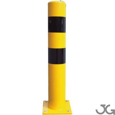 Bolardo industrial protector metálico para interior de recintos. Fabricado en acero, lacado al horno en amarillo y franjas en vinilo negro. Altura: 1metro. Bolardos de seguridad industrial. Disponible en diferentes diámetros.