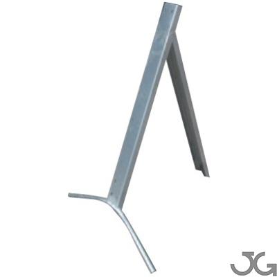 Trípode metálico de acero chapa galvanizada de 76x114cm, soporte para instalar señales MOPU de Ø90cm y 135cm lado.