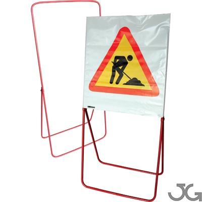 Trípode para señal de bolsa tubular acero lacado en rojo. Soporte metálico para señal de bolsa serigrafiada. Medidas: 130x60 cm. Peso: 3,75 Kgr. Sección del tubo: Ø16mm