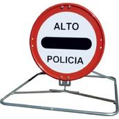 Trípodes y soportes para señales provisionales 434 Trípode tubular plegable, para Policia-Obras